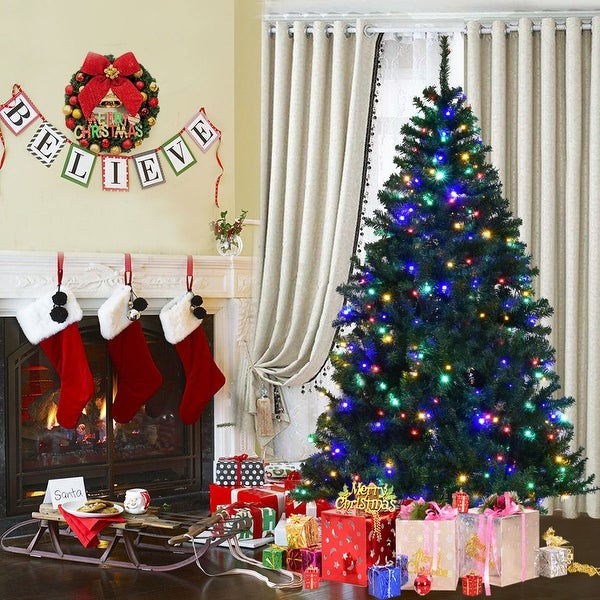 Costway 6' Pre-Lit Artificial Christmas Tree Premium Hinged w/ 350 LED Lights & Stand
