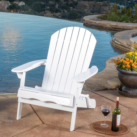 Hanlee Acacia Folding Adirondack Chair by Christopher Knight Home