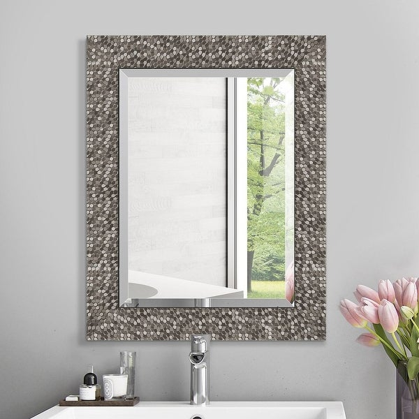 Copper Grove Tichla Beveled Rectangular Accent Mirror with Mirrored Mosaic Frame - 19*24*0.75. Opens flyout.