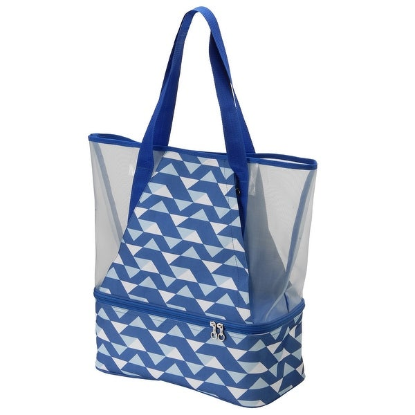 """6"""" x 14.25"""" Blue and White Soft Cooler Beach Bag. Opens flyout."""