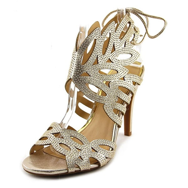 Jessica Simpson Encina 2 Women Open-Toe Canvas Gold Heels