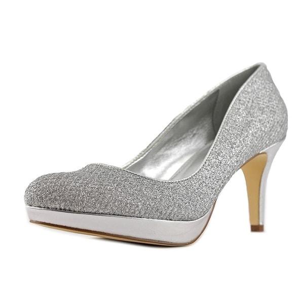 Alfani Madyson Women Open Toe Canvas Silver Platform Heel
