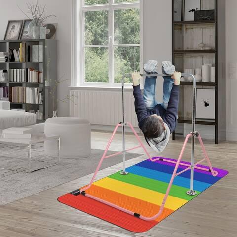 Foldable Childrens Horizontal Bar Gymnastics Bar Pink - M