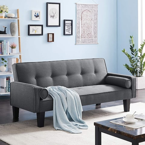 TiramisuBest Modern Futon LoveSeat Couch Linen Fabric Sleeper Sofas