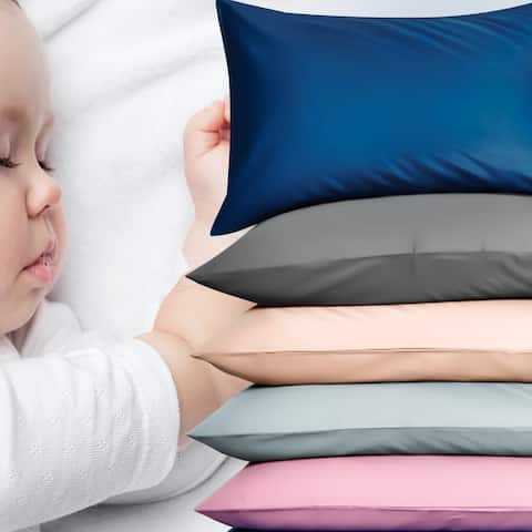 """NTBAY 2 Pack All Season Super Soft Luxury Solid Color Satin Baby Pillow Cover Set, Satin Pillowcases Zipper Closure, 13"""" x 18"""""""