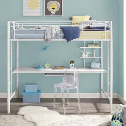 Taylor & Olive Abner White Metal Full Loft Bed with Desk