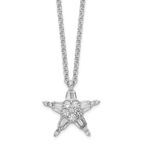 Sterling Silver Rhodium-plated Cubic Zirconia Star Pendant with 1.5-inch Extension Necklace by Versil