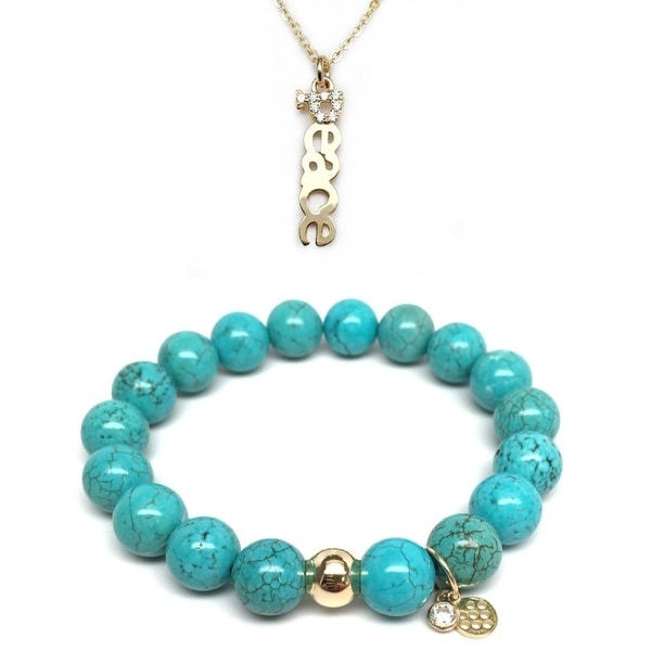 "Turquoise Magnesite 7"" Bracelet & CZ Peace Gold Charm Necklace Set"