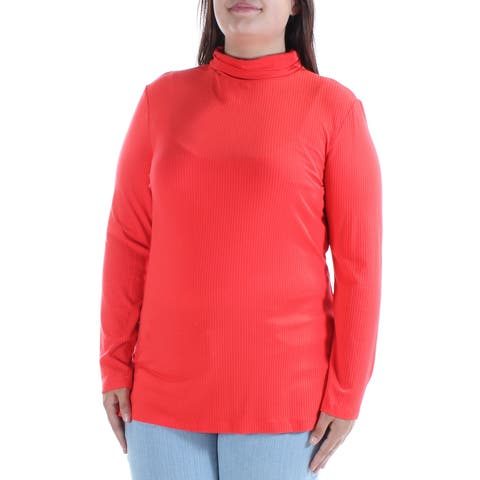TOMMY HILFIGER Womens Orange Textured Long Sleeve Turtle Neck Top Size: XL