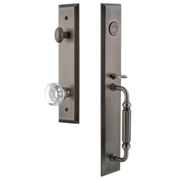 """Grandeur FAVFGRCHM_ESET_234 Fifth Avenue Solid Brass Rose Keyed Entry Single Cylinder Full Plate """"F"""" Grip Handleset with"""