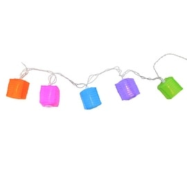 Set of 10 Multi-Color Rectangle Chinese Lantern Patio & Garden Novelty Christmas Lights - White Wire