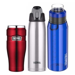 Thermos Vacuum Insulated 16oz Travel Tumblr (Red) with Two Hydration Bottles