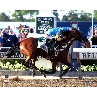 Victor Espinoza American Pharoah Finish Line Celebration 2015 Belmont Stakes 8x10 Photo