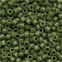 Miyuki Delica Seed Beads, 11/0 Size, 7.2 Grams, Opaque Avocado Green DB1135