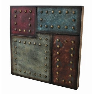 Studded Square Color Block Metal Wall Plaque 12 In. - Red
