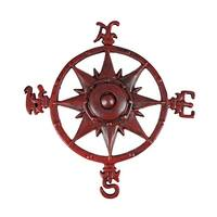 Distressed Finish Red Enamel Compass Rose Wall Hanging