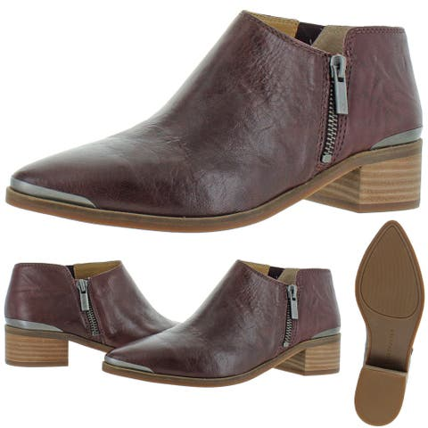 Lucky Brand Women's Koben Leather Stacked Heel Modern Ankle Boot Bootie