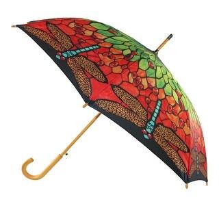 CTM® Women's Auto Open Tiffany Inspired Stain Glass Print Stick Umbrella - Multi-Color - One Size