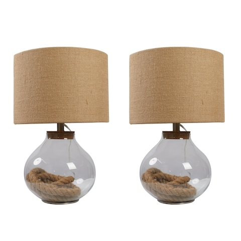 McKee Glass and Rope Table Lamp - Set of 2