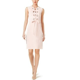 Tommy Hilfiger Grommet Lace-Up Dress Blush - 14