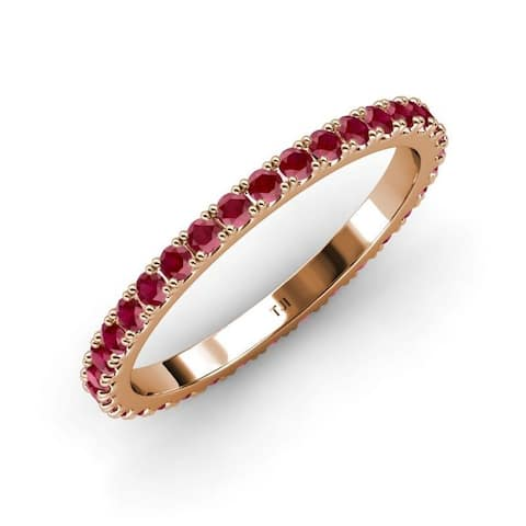 TriJewels Ruby French Set Women Eternity Ring Stackable 14K Gold