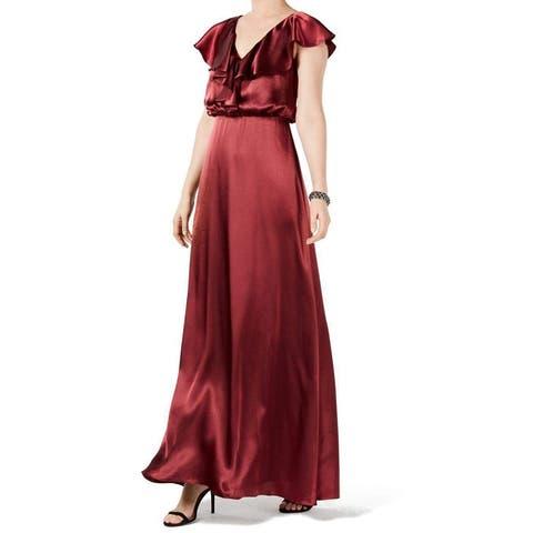 Adrianna Papell Women's Dress Wine Ruffle Satin Gown
