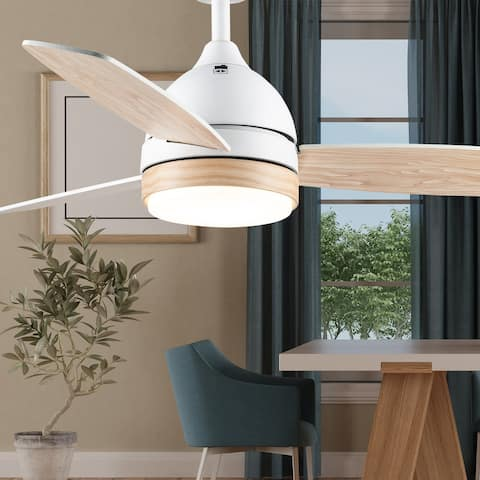 "Mya River of Goods White 51-inch LED Integrated Ceiling Fan With Light - 42"" x 42"" x 11""/15"""