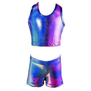 Reflectionz Girls Hot Pink Blue Iridescent Two Tone 2 Pc Shorts Set