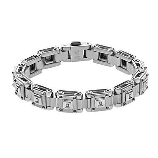 Black and Blue Men's Link Bracelet with Diamond Accents in Stainless Steel
