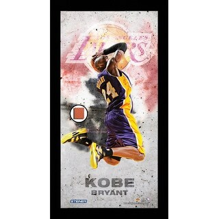 Kobe Bryant Los Angels Lakers Player Profile Framed 10x20 Photo Collage w Game Used Basketball