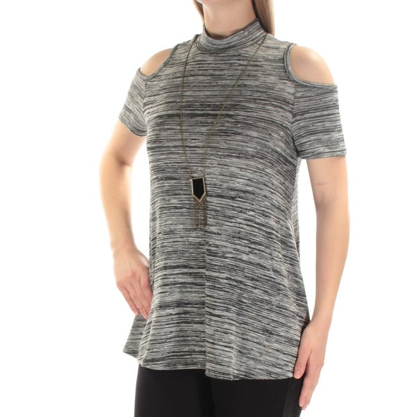 005ccc7677f09 Shop BCX  39 Womens New 1251 Gray Cut Out W necklace Short Sleeve Top M  Juniors B+B - Free Shipping On Orders Over  45 - Overstock - 21351225