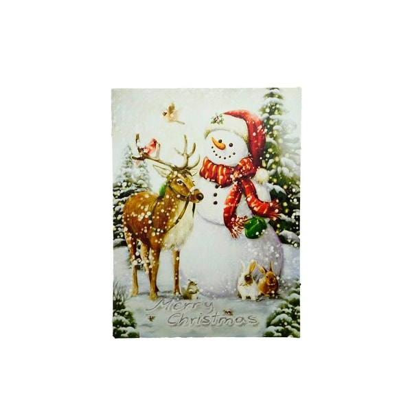 "LED Lighted Vintage Inspired Snowman and Reindeer Christmas Canvas Wall Art 15.75"" x 12"""