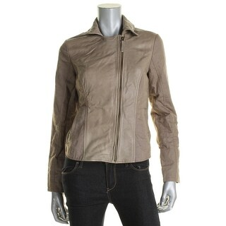 Lucky Brand Womens Leather Linen Bomber Jacket - S