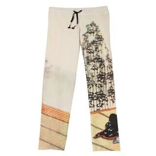 Women's Asian Print French Terry Sweatpants - Cream with Geisha
