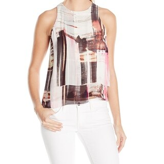 French Connection NEW White Womens Size 6 Printed Layered Tank Cami Top