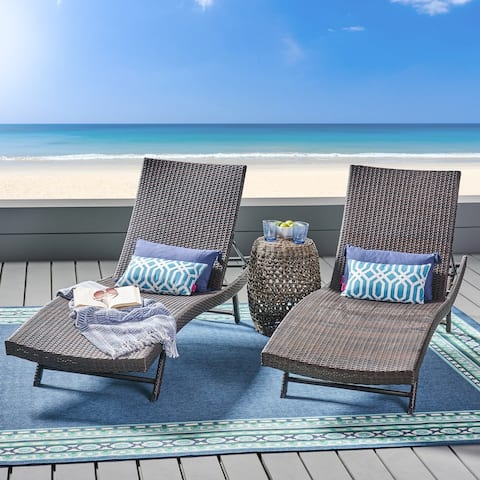 Kauai Outdoor Wicker Chaise Lounge (Set of 2) by Christopher Knight Home - N/A