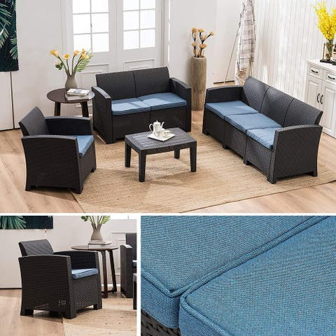 MCombo 7pcs Patio Furniture Set Outdoor Sectional Sofa Rattan Pattern Patio Conversation Set w/Seat Cushions 6050-800