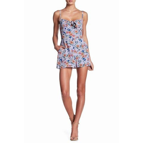 Yumi Kim Women's Romper Large Floral Front Tie Silk