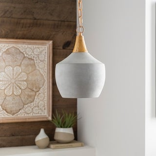 "Link to Marpa Concrete & Wood Farmhouse 1-light Pendant - 13"" x 15"" x 15"" Similar Items in Pendant Lights"