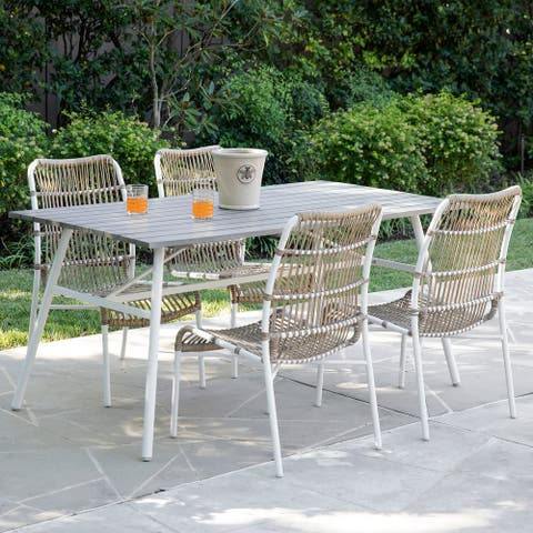 Havenside Home Latham Contemporary Gray Woven Dining Chairs (Set of 4)