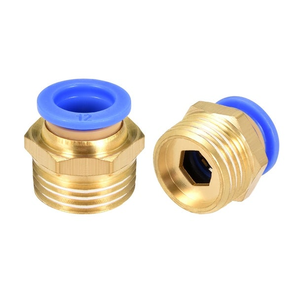 """5 Pcs 1/2"""" G Male Straight Thread 12mm Push In Joint Pneumatic Quick Fittings"""
