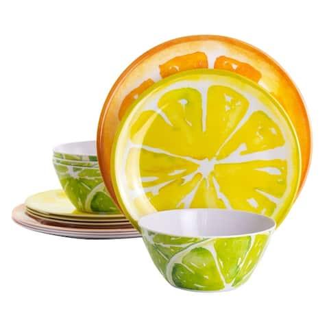 Gibson Home Sunny Citrus 12 Piece Round Melamine Dinnerware Set in Assorted Designs