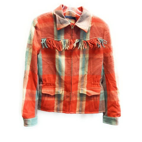 Ralph Lauren Blue Label Plaid Fringed Full-Zip Jacket, Multi, 12
