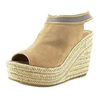 Delman Aria Women Open Toe Leather Wedge Sandal