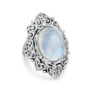 Bling Jewelry Vintage Style Sterling Silver Oval Rainbow Moonstone Ring - White