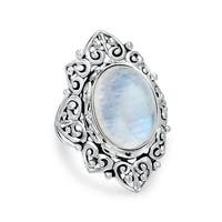 Bling Jewelry Vintage Style Sterling Silver Oval Rainbow Moonstone Ring