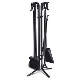Costway 5 Pieces Fireplace Tools Set Iron Fire Place Tool set Stand Hearth Accessories - Black