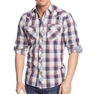 American Rag Faded Mens Convent Plaid Button Down Shirt