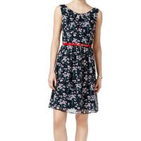 Connected Apparel Blue Womens Size 12 Floral Belted A-Line Dress