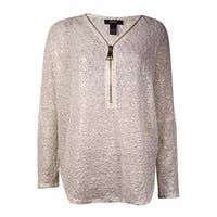 Alfani Women's Open-Knit Metallic Sweater